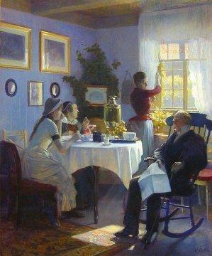 """Reprodukcja obrazu """"Niedzielne popołudnie"""" (ok.1912) Carla Thomsena (1847-1912); źródło: Wikimedia."""