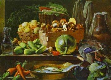 """Reprodukcja obrazu """"Martwa natura"""" (1839) Jana Chruckiego (1810-1885), źródło: Wikimedia"""